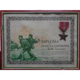 Attestato e stella delle brigate Garibaldi 1943-45