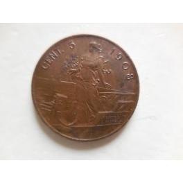 5 centesimi 1908 FDC