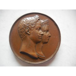 Medaglia a ricordo del matrimonio fra V.Emanuele II e Maria Adelaide 1842
